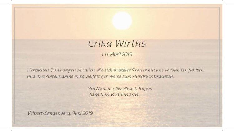 Erika Wirths -Danksagung-