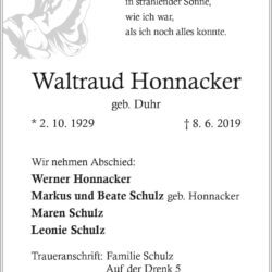 Waltraud Honnacker † 8. 6. 2019