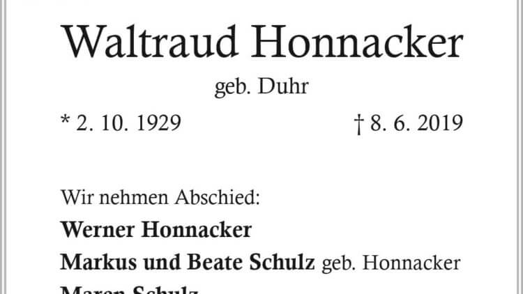 Waltraud Honnacker † 8. 6. 2019