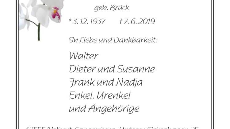 Doris Schmidt † 7. 6. 2019