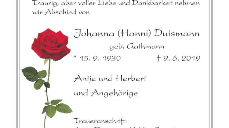 Johanna Duismann † 9. 6. 2019