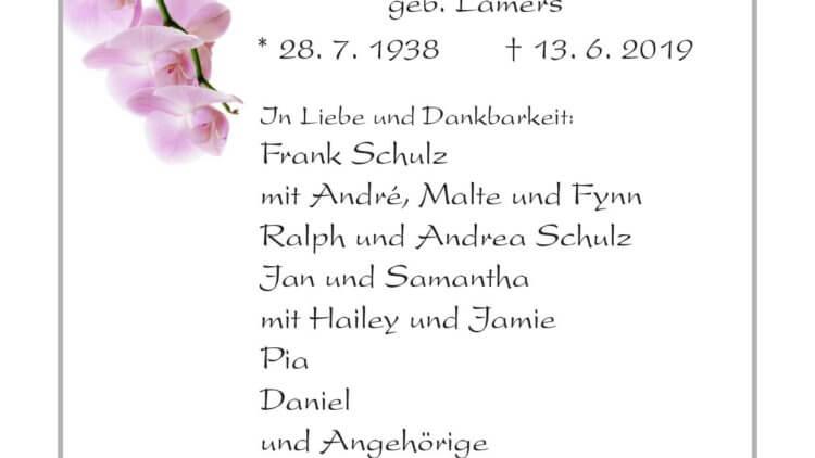 Ingrid Schulz † 13. 6. 2019