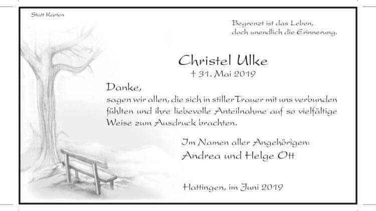 Christel Ulke -Danksagung-