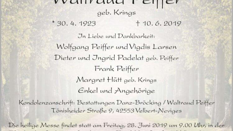 Waltraud Peiffer † 10. 6. 2019