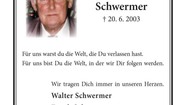 Walter Schwermer -16. Jahrgesdächtnis-