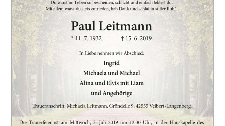 Paul Leitmann † 15. 6. 2019