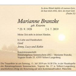 Marianne Branzke † 4. 7. 2019
