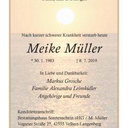 Meike Müller † 8. 7. 2019