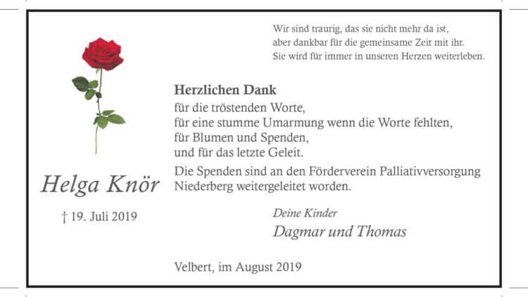 Helga Knör -Danksagung-
