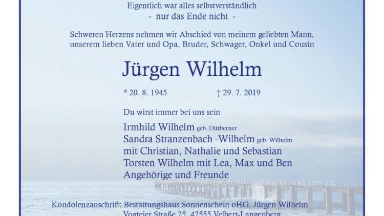 Jürgen Wilhelm † 29. 7. 2019