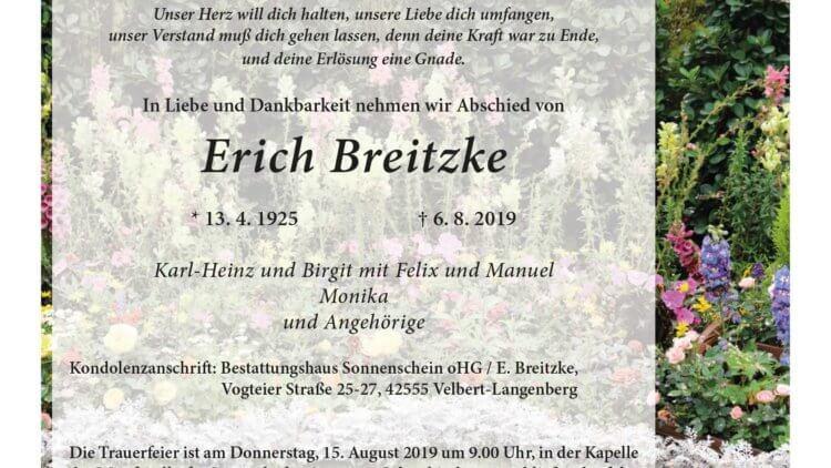 Erich Breitzke † 6. 8. 2019