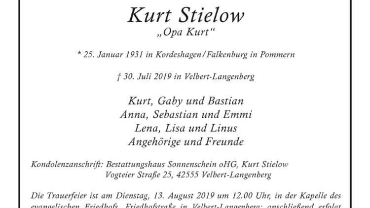 Kurt Stielow †30. 7. 2019