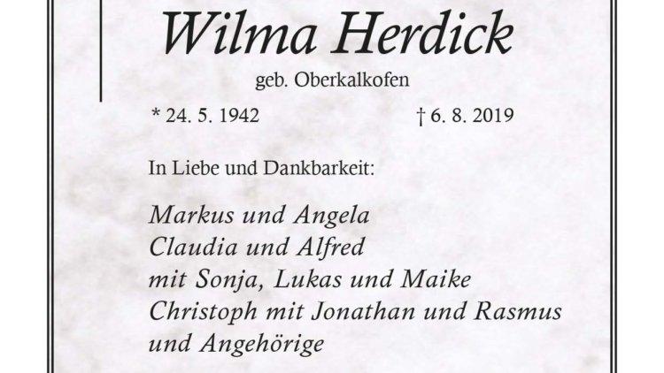 Wilma Herdick † 6. 8. 2019
