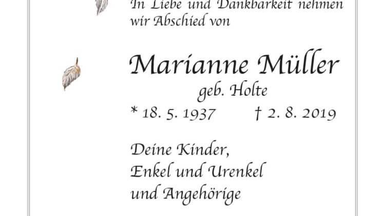 Marianne Müller † 2. 8. 2019