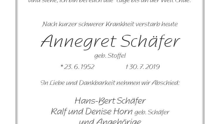 Annegret Schäfer † 30. 7. 2019