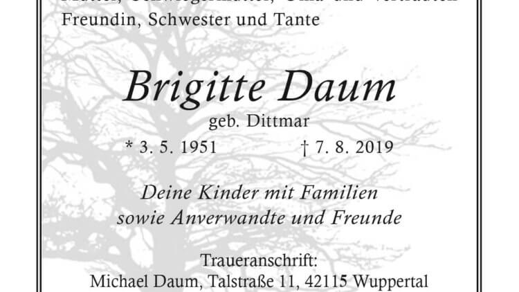Brigitte Daum † 7. 8. 2019