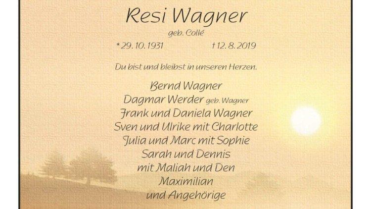 Resi Wagner † 12. 8. 2019