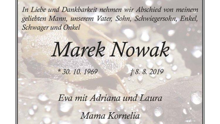 Marek Nowak † 8. 8. 2019