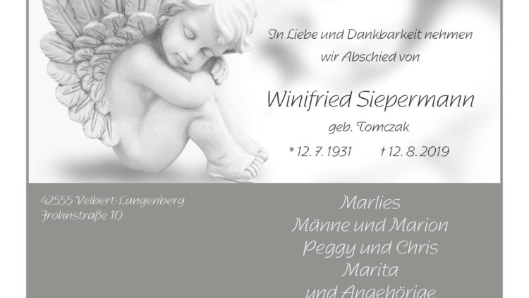 Winifried Siepermann † 12. 8. 2019