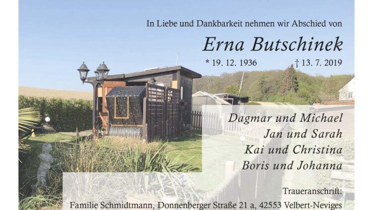 Erna Butschinek † 13. 7. 2019