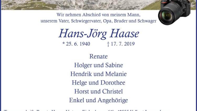 Hans-Jörg Haase †17. 7. 2019