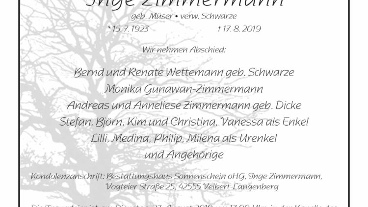 Inge Zimmermann † 17. 8. 2019