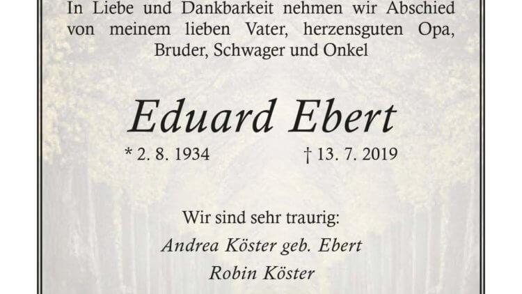 Eduard Ebert † 13. 7. 2019