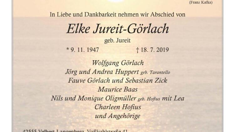 Elke Jureit-Görlach †18. 7. 2019