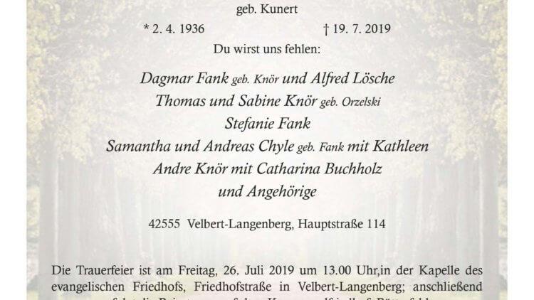 Helga Else Sofie Knör † 19. 7. 2019