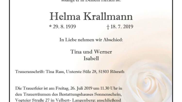 Helma Krallmann † 18. 7. 2019