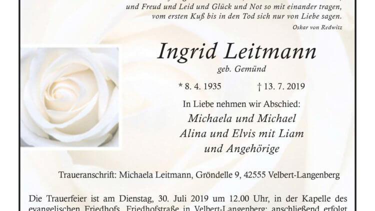 Ingrid Leitmann † 13. 7. 2019