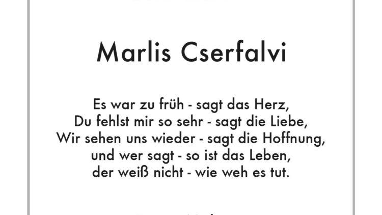 Marlis Cserfalvi -5. Jahresgedächtnis-