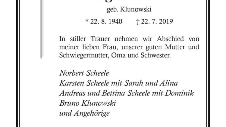 Margitta Scheele † 22. 7. 2019