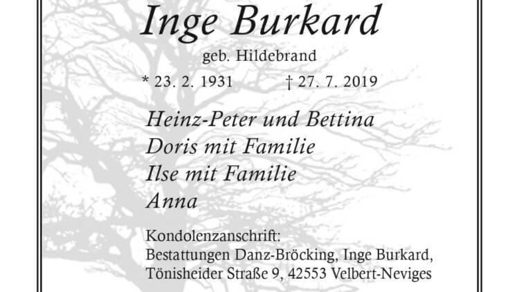 Inge Burkard † 27. 7. 2019