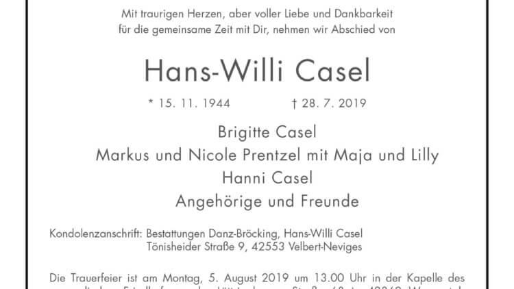 Hans-Willi Casel † 29. 7. 2019