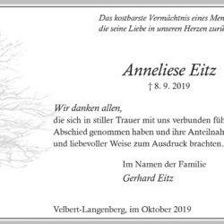 Anneliese Eitz -Danksagung-