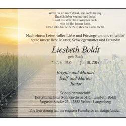 Liesbeth Boldt † 8. 10. 2019