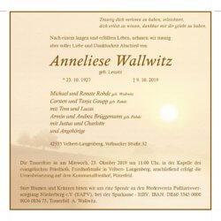 Anneliese Wallwitz † 9. 10. 2019