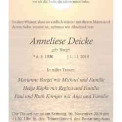Anneliese Deicke † 1. 11. 2019