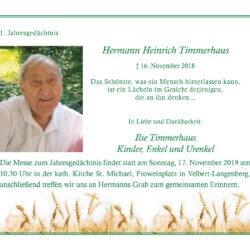 Hermann Heinrich Timmerhaus -1. Jahresgedächtnis-