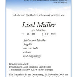 Lisel Müller † 10. 11. 2019
