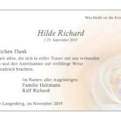 Hilde Richard -Danksagung-
