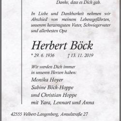 Herbert Böck † 13. 11. 2019