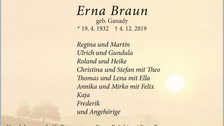 Erna Braun † 4. 12. 2019