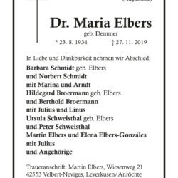 Dr. Maria Elbers † 27. 11. 2019