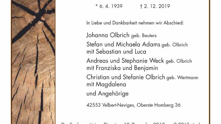 Bernhard Olbrich † 2. 12. 2019