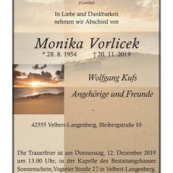 Monika Vorlicek † 20. 11. 2019