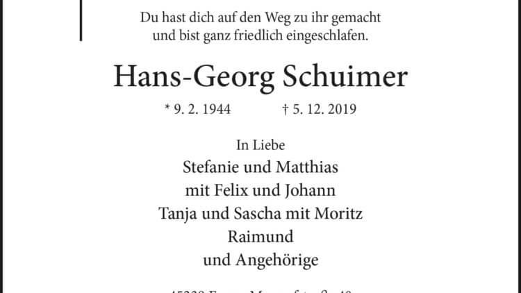 Hans-Georg Schuimer † 5. 12. 2019