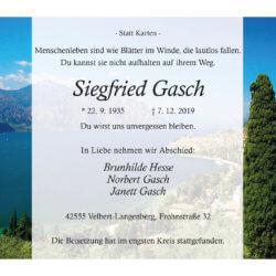 Siegfried Gasch † 7. 12. 2019
