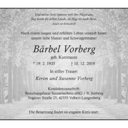Bärbel Vorberg † 10. 12. 2019